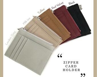 d55b2b936f1b Personalized Zipper Card Holder - Monogram Card Holder - Personalized  Leather Card Holder - Zipper Card Case - Personalized gifts