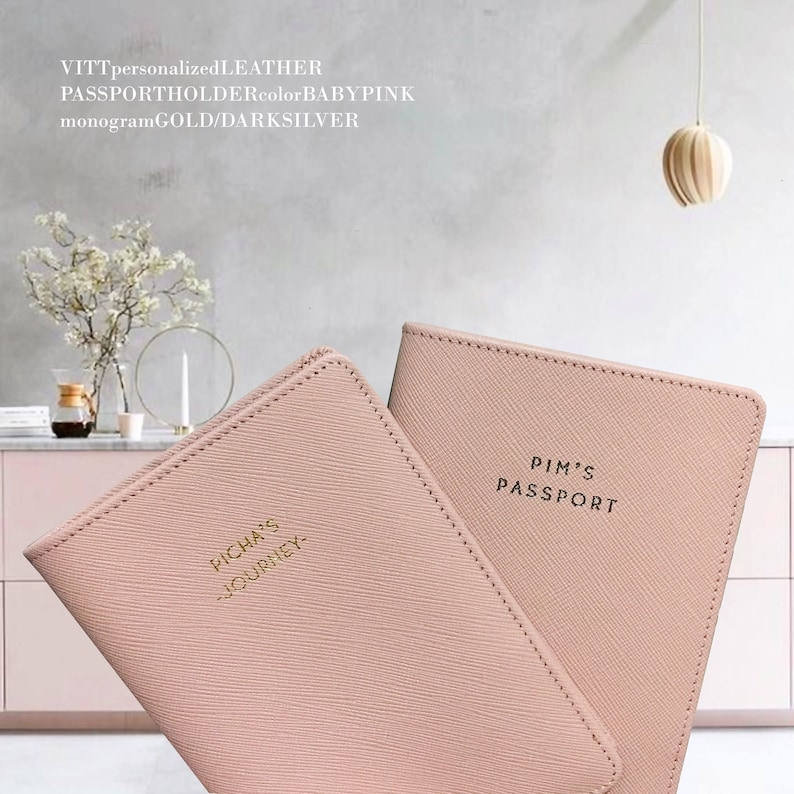 8a36b9558fbc0 Passport Cover - Monogram Passport- Personalized Leather Passport Holder -  Passport Cases - Passport Cover - Wedding Gifts (Baby Pink)
