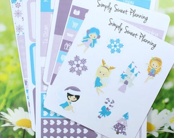 Winter Fairies Planner Sticker Kit - Happy Planner - Erin Condren - Plum Planner - Matte - Weekly Planner - Function Stickers