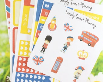 London Planner Sticker Kit - Happy Planner - Erin Condren - Plum Planner - Functional Stickers - Matte - Weekly Stickers - Sticker Kit
