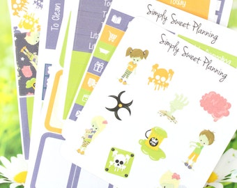 Zombie Kids Planner Sticker Kit - Happy Planner - Erin Condren - Plum Planner - Functional Sticker - Matte - Weekly Planner - Stickers