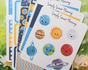 Solar System Planner Sticker Kit - Happy Planner - Erin Condren - Plum Planner - Matte - Weekly Planner - Functional Sticker - Stickers