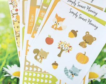 Fall Animals Planner Sticker Kit - Happy Planner - Erin Condren - Plum Planner - Matte - Weekly Planner - Functional Sticker - Stickers