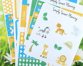 Safari Planner Sticker Kit - Happy Planner - Erin Condren - Plum Planner - Functional Sticker - Matte - Weekly Planner - Animal Stickers