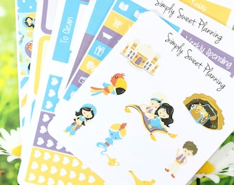 Aladdin Planner Sticker Kit - Happy Planner - Erin Condren - Plum Planner - Functional Sticker - Matte - Aladdin Stickers