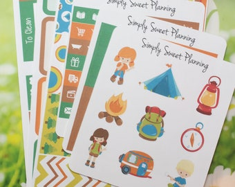 Camping Planner Sticker Kit - Happy Planner - Erin Condren - Plum Planner - Matte - Weekly Planner - Functional Sticker - Stickers