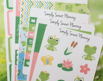 Frog Planner Sticker Kit - Happy Planner - Erin Condren - Plum Planner - Matte - Weekly Planner - Functional Sticker - Stickers