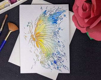 """Butterfly Card - Laser cut with hand painted watercolor 5x7"""""""