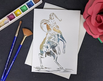 """Skele-Sheep - Laser cut with hand painted watercolor 5x7"""""""