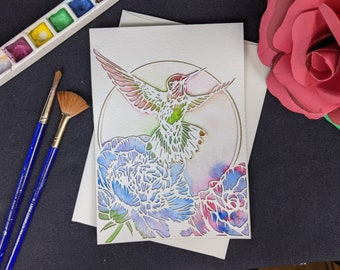 """Hummingbird - Laser cut card with hand painted watercolor 5x7"""""""