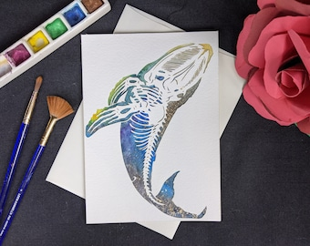 """Skele-Whale - Laser cut card with hand painted watercolor 5x7"""""""
