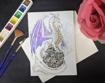 """D20 Dragon Card - Laser Cut with hand painted watercolor 5x7"""""""
