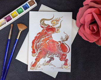 """Bull - Laser cut card with hand painted watercolor 5x7"""""""