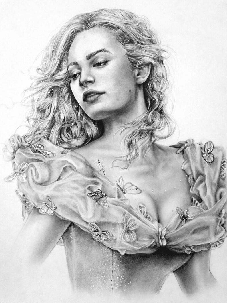 Lily james as cinderella 2015 pencil drawing print etsy
