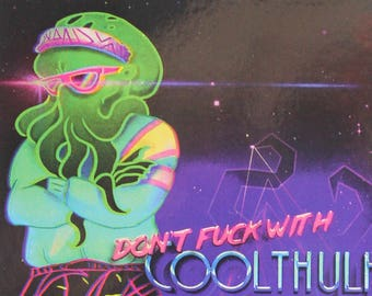 COOLTHULHU | 80s styled Cthulhu Postcard | H.P. Lovecraft | Cool Neon