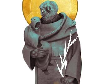 The Unholy Holy   H.P. Lovecraft   Art Print   Dark Horror Portrait   Holy Figure   Saint