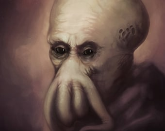 Rembrandt Cthulhu | H.P. Lovecraft | Poster Print | Dark Horror Portrait