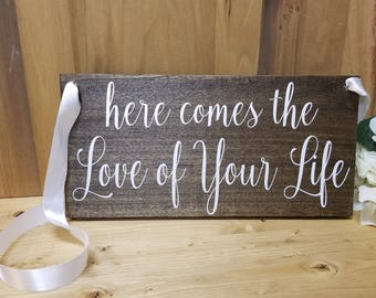 Here Comes the Love of Your Life Sign-And They Lived Happily Ever After-Custom Double Sided Ring Bearer Sign-Photo Prop