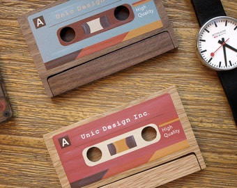 Card case etsy cassette business card case holder personalization available colourmoves