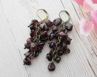 Garnet earrings Chandelier Earrings Garnet Stone Earrings Jewelry handmade Gemstone earrings Cluster earrings
