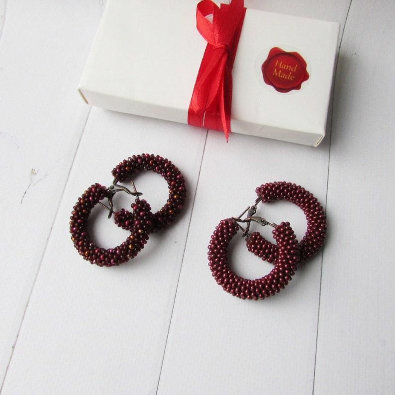 Burgundy hoop earrings Burgundy beaded earrings Small hoops earrings  Statement earrings Modern earrings Beaded hoop earrings geometric shape