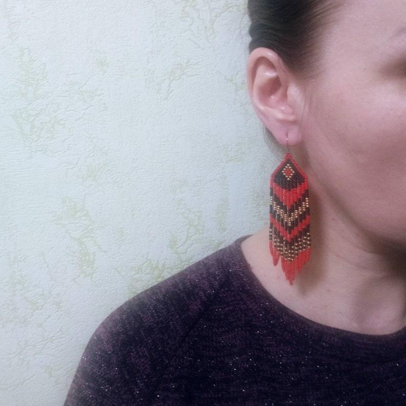 Beadwork earrings Red black gold earrings Beaded earrings Ethnic earrings American native Seed beads earrings Fringe earrings Boho earrings