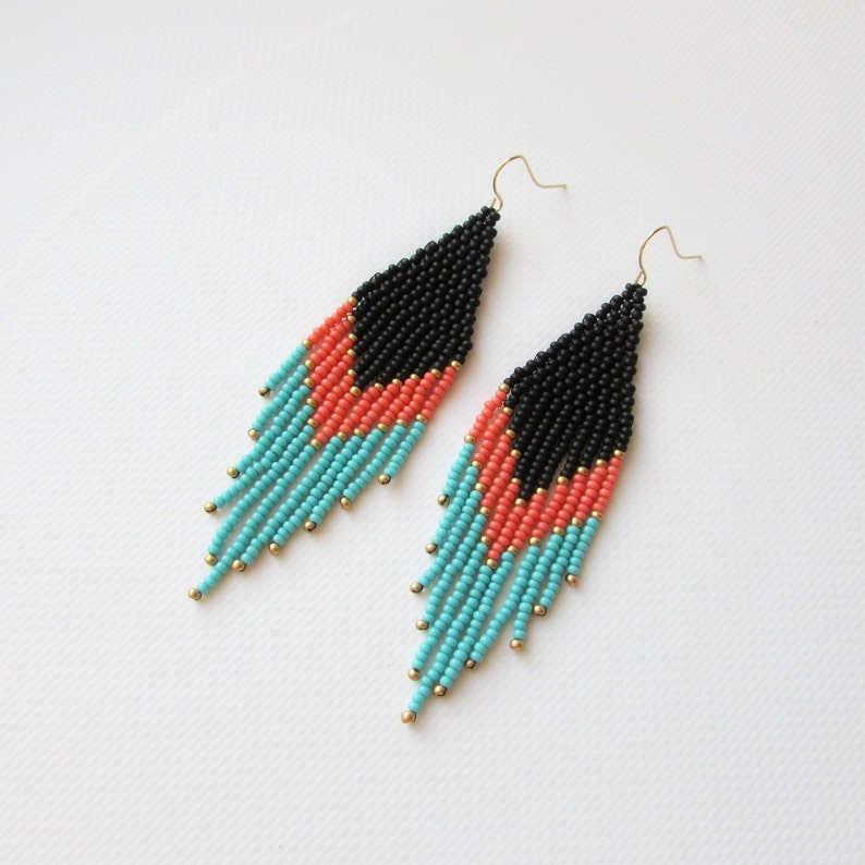 Ethnic earrings Black coral Turquoise earrings Bead earrings image 0