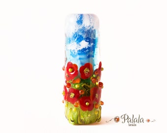Focal Lampwork Glass Bead with poppies