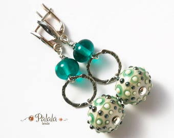 Handmade Lampwork Beads and Sterling Silver Earrings, Lampwork earrings, Artisan earrings, Artisan lampwork jewelry