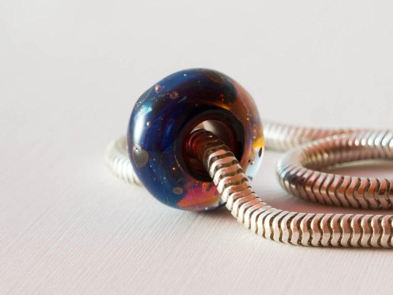 Valentine/'s charm bead Heart charm bead European charm bead Big hole Lampwork Glass Bead euro style bead