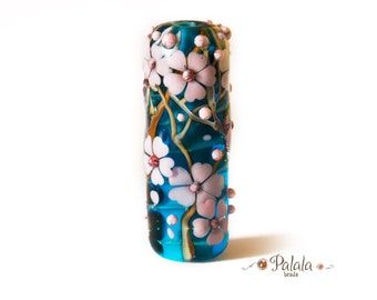 Large hole Lampwork Glass Bead with cherry blossom