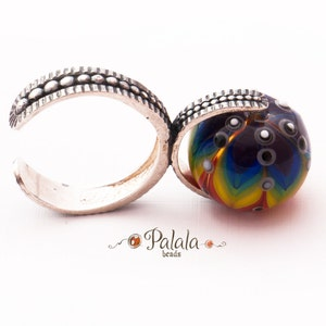 Handmade Lampwork Cabochon and Sterling Silver Ring