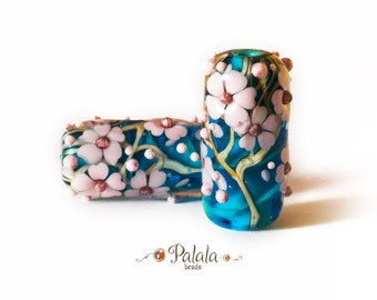 Lampwork Beads with cherry blossom