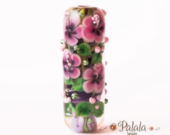 Large hole Lampwork Glass Bead with hibiscus blossom