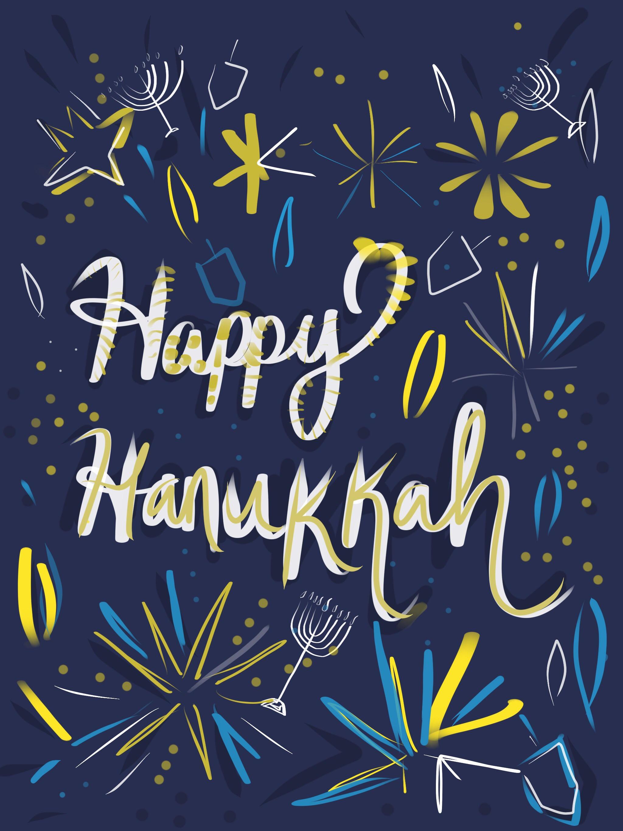 Happy Hanukkah Printable Greeting Card Designed In Israel Etsy
