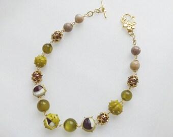Chestnut lampwork necklace