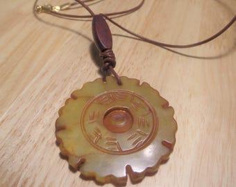 Yellow/Orange Round Stone pendant necklace