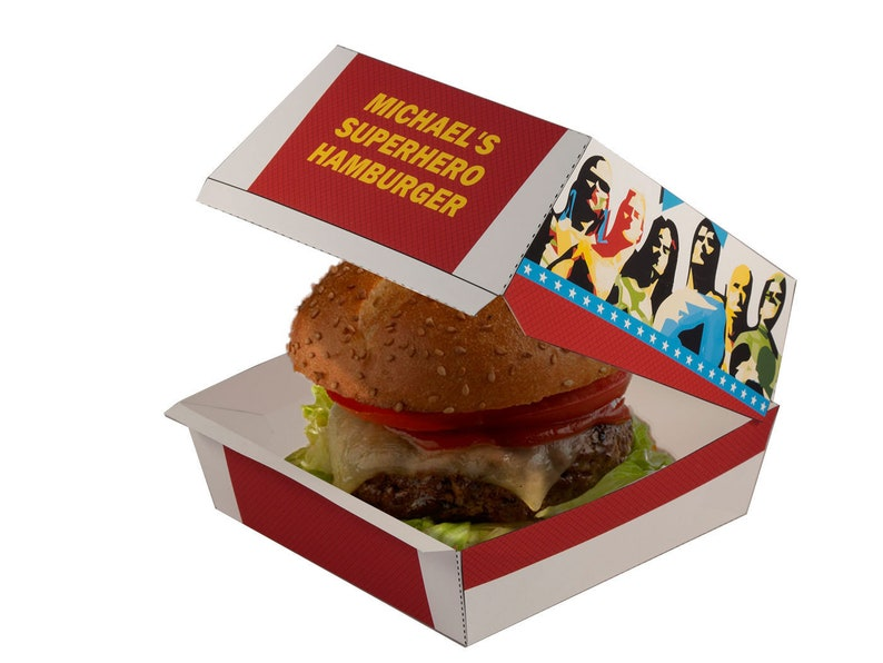 Superhero Party Hamburger Box. Superhero Party decorations. image 0