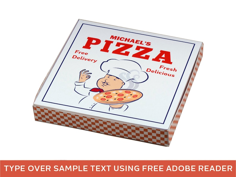 Pizza Party Favor Box. Printable Party Decorations. Pizza image 0