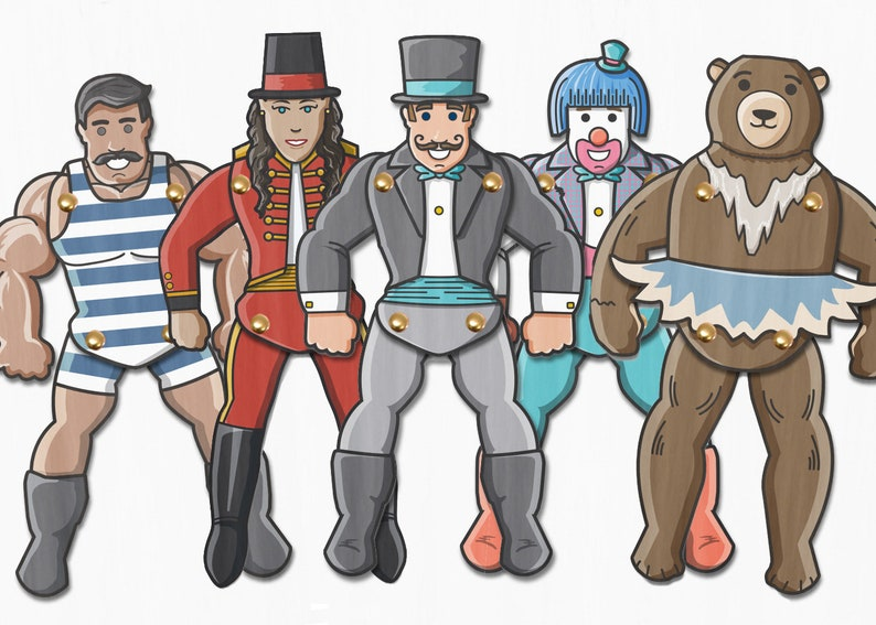Circus Paper Puppets. Circus or Carnival Party Activity. image 0