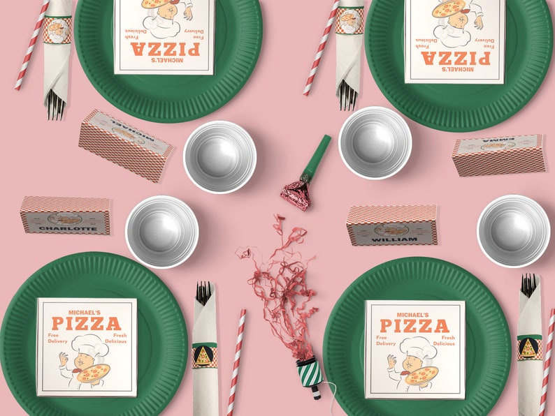 Pizza Party Theme Kit. Pizza Party Invite. Pizza Party Favors. image 0