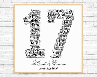 PERSONALIZED 17TH ANNIVERSARY Gift ~ Word Art ~ Printable Art ~ Unique Anniversary gift ~ 17 Year Wedding Anniversary Gift ~ Unique Gift