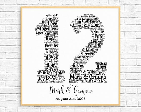 Personalized 12th Anniversary Gift Word Art Printable Art Etsy