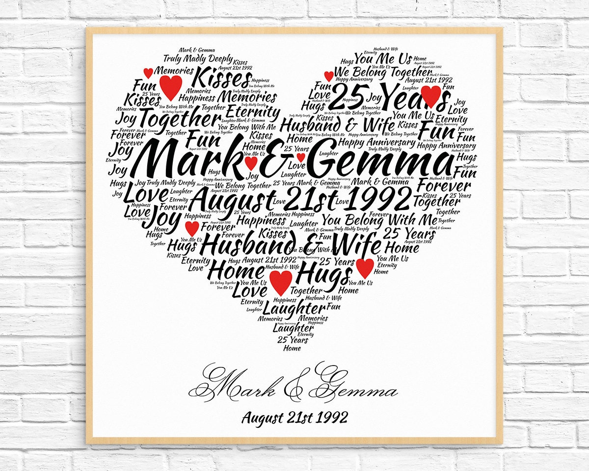 Unique 25th Wedding Anniversary Gifts: Personalized 25th ANNIVERSARY GIFT Silver Anniversary 25