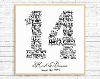 PERSONALIZED 14TH ANNIVERSARY Gift ~ Word Art ~ Printable Art ~ Unique Anniversary gift ~ 14 Year Wedding Anniversary Gift ~ Unique Gift