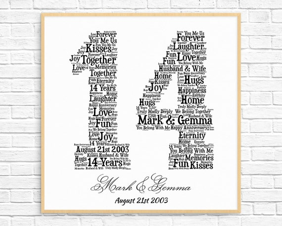 Gift Ideas For 14th Wedding Anniversary: PERSONALIZED 14TH ANNIVERSARY Gift Word Art Printable Art