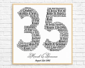 PERSONALIZED 35TH ANNIVERSARY Gift ~ Word Art ~ Printable Art ~ Unique Anniversary gift ~ 35 Year Wedding Anniversary Gift ~ Unique Gift