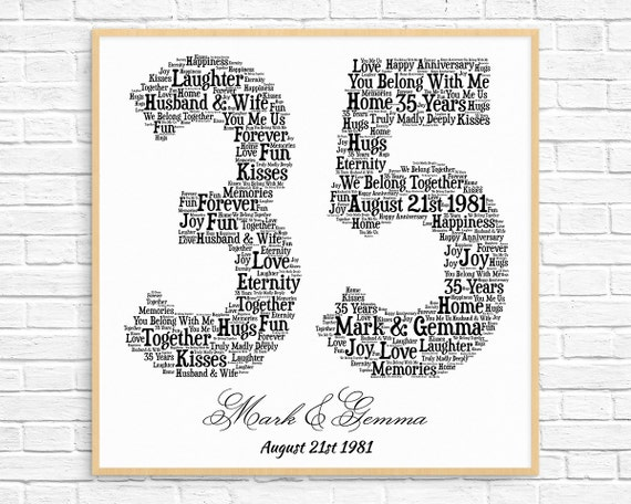 Personalized 35th Anniversary Gift Word Art Printable Art Etsy