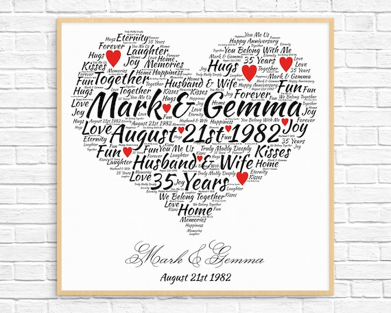 Coral Gifts 35th Wedding Anniversary: Personalized 35th ANNIVERSARY GIFT Coral Anniversary 35