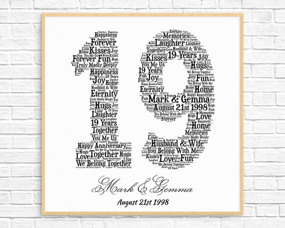 Personalized 19th Anniversary Gift Word Art Printable Art Etsy